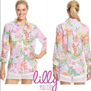 NWT Lilly Pulitzer Nosie Posey Button Down Shirt L